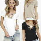 CHIC Womens Sexy V Neck Lace UP T-Shirt Short Sleeve Loose Tops Casual Blouse