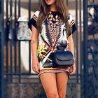 Women Chic Print Short Sleeve Mini Bodycon Cocktail Evening Dress Long T Shirt