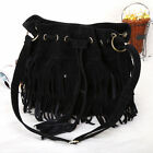 Womens Ladies Shoulder Bag Girls Messenger Bag Fringe Suede Tassel Handbag SHBT