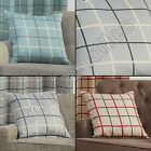 TEXTURED CHECK STRIPED COTTON RICH CUSHION COVER CASE BLACK RED CREAM GREY BLUE