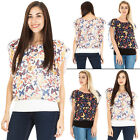 New Womens Butterfly Print Scoop Neck Flutter Top with Pearl Necklace Plus Size