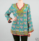 Tolani Leah Long-Sleeve Silk Tunic Blouse in Turquoise