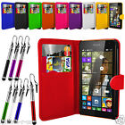 Leather Bookcase Wallet Case Cover For Microsoft Lumia 535 Free Retractable Pen