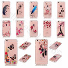 Clear TPU + Colorful Pattern Soft Rubber Silicone Gel Case Cover For Cell Phones