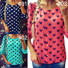 Casual Ladies Chiffon Blouse Long Sleeved Top Tee Heart Floral Print T-shirt