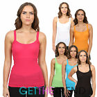 Multibuy Womens Basic Rib Strap Vest Ladies Cami 100% Cotton Summer Vest Top