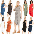 New Womens Italian Lagenlook Pleated Scoop Neck Short Sleeve One Size Plus Dress