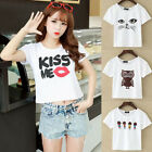 1 Pc Summer Women Cotton Short Sleeve Crop Top Round Neck Casual Tee T-shirt