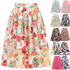 Women 50's 60's Polka Dot Floral Evening Pleated A-line Swing Skirts