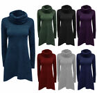 Womens Fine Knit Cowl Jumper Dress Ladies Knitted Drape Top Knitwear Sweater
