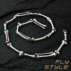 STAINLESS STEEL BRACELET NECKLACE Bone Skeleton Skull Silver Biker Gothic Rock s