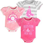 Boston Red Sox Cute Baby Infant Girl 3-Piece Pink Creeper Romper Bodysuit Set