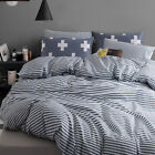 Striped Quilt Doona Cover Set Double Queen King Bed Size Duvet Covers New Linen