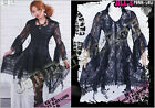 Gothic lolita medieval blossom fairy hollow witch breezy lace shirt dress 21072