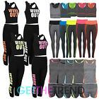 WOMENS WORKOUT GYM TOP AND LEGGINGS SET LADIES 2PC FITNESS GYM ACTIVE OUTFIT SET