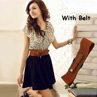 Fine Quality Ladies Short Sleeve Polka Party Dot Frilled Dress With Leather Belt