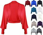 Womens New Long Batwing Sleeve Ladies Shrug Bolero Jersey Cropped Cardigan Top