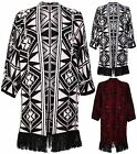 Womens New Aztec Print Ladies Short Sleeve Long Open Knitted Cardigan Jumper Top