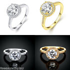 1PC New Women Round Fashion Simple Crystal Zircon Auger Ring Jewelry Size 8