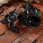 Military Survival Rescue Paracord Bracelet Whistle Watch Compass Outdoor Rescue