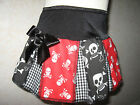 New COOL Girls  Black white red Funky skulls pleated skirt party gift Goth Rock