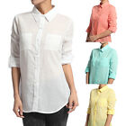 TheMogan Dual Pocket BUTTON DOWN SHIRTS Roll Up Sleeve Collared Cotton Blouse