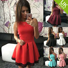 Women Sleeveless Skirt Dress Ladies Evening Party Mini Skater Dress