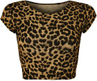 New Womens Animal Zebra Monochrome Print Cap Sleeve Vest Ladies Crop Top 8-14