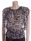 New Carbon Blouse Size 10 14 in Brown & Black Animal Print Sheer Top