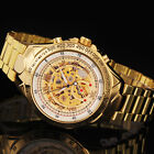 Steampunk Transparent Gold Skeleton Mens Automatic Mechanical Wrist Watch esm