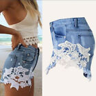 Hot Fashion Women's High Waist Lace Crochet Shorts Jeans Denim Girls Short Pants