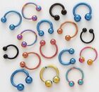 16g x 5/16 TITANIUM ANODIZED BALL HORSESHOE 4 Colors