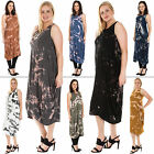 New Womens Italian Lagenlook Splatter Print Pleated Baggy Dress Plus Size