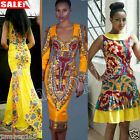 UK Womens Dress Sexy Bodycon Traditional African Print Cocktail Party Dresses