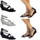 LADIES WEDDING SANDALS LADIES PROM WEDGE HEEL DIAMANTE SATIN PEEP TOE SHOES SIZE