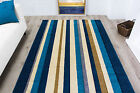 New Quality Carved Striped Modern Rug Soft Easy Clean Teal Blue Living Room Rugs