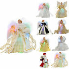 Pre-Lit Fibre Optic Christmas Tree Topper Angel Decoration Silver Gold White