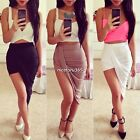 Women Wrap Banded Waist Draped Cut Out Asymmetrical Hi Low Skirt Hot Sundress