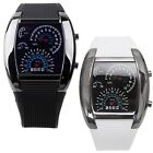 Men's Fashion LED Light Flash RPM Turbo Speedometer Sports Car Dial Meter Watch