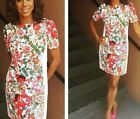 Ex Adrianna Papell White Floral Print Shift Dress Summer Occasion 8-18UK  £150