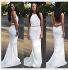New Sexy Women's White Backless Bodycon Cocktail Evening Party Bridesmaid Dress