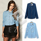 Lady Retro Long Sleeve Rivets Lapel Dual-Pocket Jean Denim Tops Blouse Shirt S-L