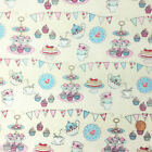"Summer fair tea party fabric  58 "" wide 100 % cotton per 1/2 metre/fat quarter"