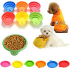 1 X Pet Dog Cat Portable Silicone Collapsible Feeding Bowl Water Dish Feeder  MO
