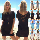 UK Womens Celeb Sexy Casual Long Tops Ladies Summer Back Cross Beach Party Dress