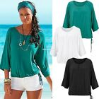 plus Size Nice Women Loose Casual Short Sleeve Sexy Shirt Tops Blouse Tee EN24H