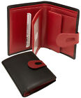 ILI Leather Bifold Wallet with Cut Out Tab Closure - Black / Red