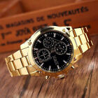 Fashion Men's Luxury Gold Dial Stainless Steel Band Analog Quartz Wrist Watch