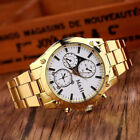 Fashion Men's Luxury Gold Dial Stainless Steel Band Analog Quartz Wrist Watch image