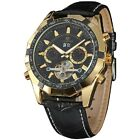 New Men's Freewheel Wristwatch Automatic Mechanical Watch with Leather Band